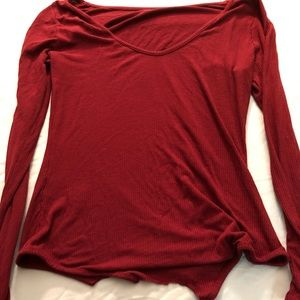 Rebecca Minkoff Red Long Sleeve Top Large